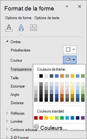 Sélection de couleurs d'ombre WordArt