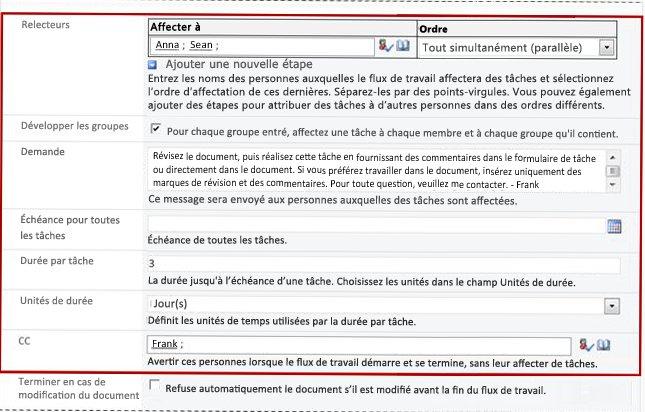 Seconde page du formulaire d'association avec les champs du formulaire d'initiation identifiés