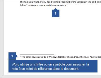 Word utilise un chiffre ou un symbole pour associer la note à un point de référence dans le document.