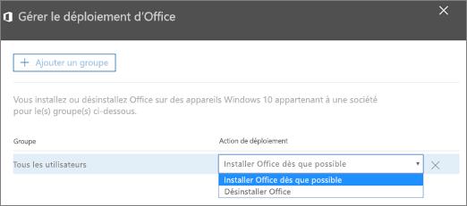 Dans le volet de déploiement Gérer Office, sélectionnez Installer Office dès que possible ou Désinstaller Office.