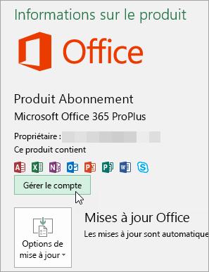 Capture d'écran montrant la sélection Gérer le compte sur la page Compte dans une application de bureau Office