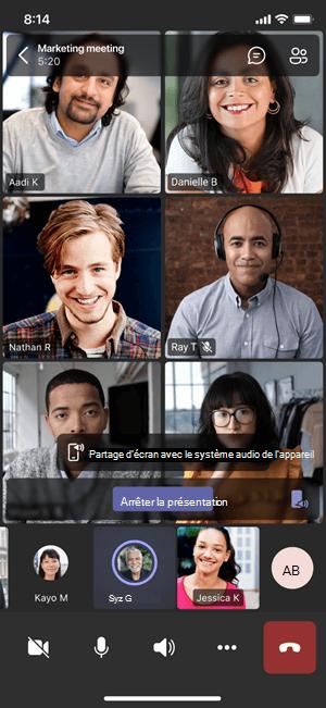 Écran mobile avec l'écran de partage et la notification audio