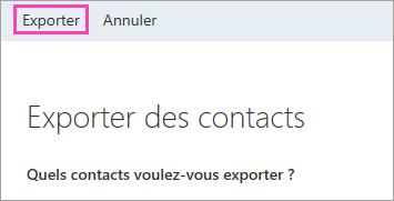Capture d'écran du bouton Exporter