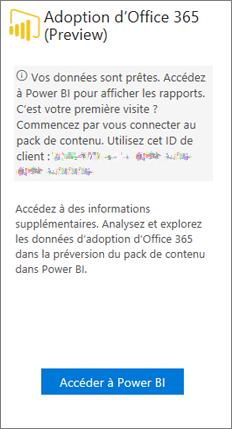 Choisissez Aller à Power BI sur la carte de Office 365 Adoption