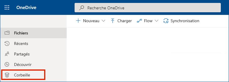 OneDrive Entreprise en ligne avec la corbeille dans le menu de gauche