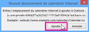abonnement à un calendrier Internet