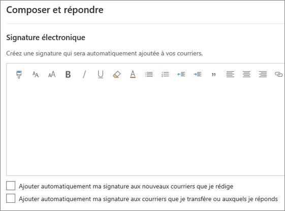 Création d'une signature électronique dans Outlook sur le web