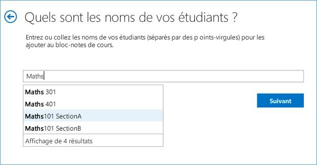 Capture d'écran illustrant l'ajout de groupes dans l'application Bloc-notes pour la classe