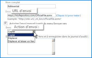 Capture d'écran de la section Paramètres de connexion de la page Connexion d'envoi du Centre d'administration SharePoint Online. Vous pouvez spécifier ici l'URL de l'emplacement de destination de l'organisateur de contenu.