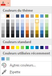 Sélectionnez la flèche vers le bas en regard du bouton Couleur de police pour ouvrir le menu de couleurs.