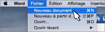 Option nouveau document