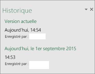 Volet Historique dans Excel2016 pour Windows