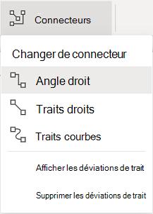 Le menu connecteurs de l'onglet formes du ruban comporte des options.