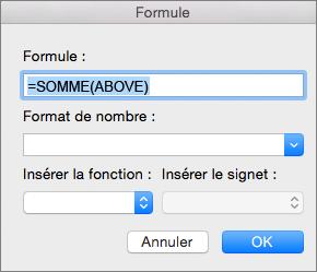 Zone Formule contenant la formule permettant d'additionner les nombres d'une colonne