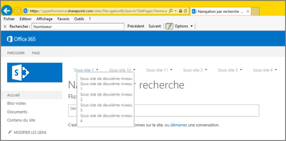 Capture d'écran des résultats de navigation