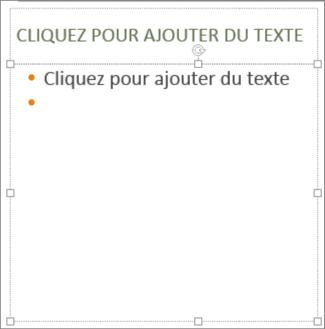Ajouter du texte à l'espace réservé