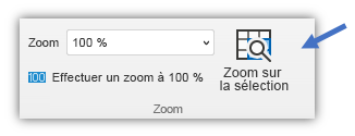 Capture d'écran du bouton Zoom sur la sélection qui se trouve sous l'onglet Affichage du ruban.