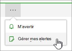 Bouton alertes SharePoint Online gérer mis en évidence