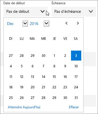 Menu Date de début développé pour une tâche du Planificateur