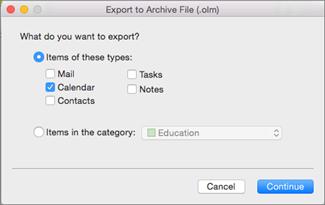 Cochez les éléments à exporter.