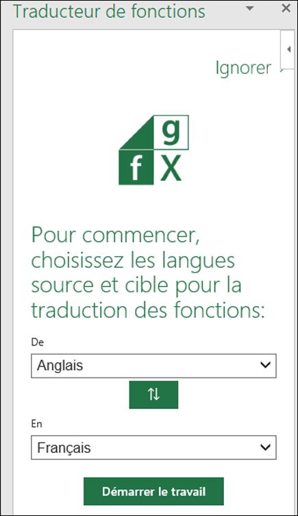 Traducteur de fonctions - Volet Paramètres de langue