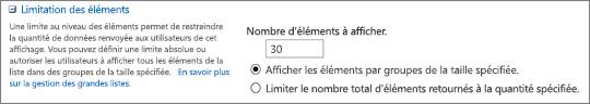 Définir le nombre d'éléments à afficher dans la page Paramètres d'affichage