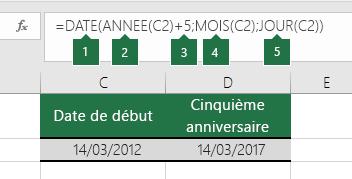 Calculer une date sur la base d'une autre date