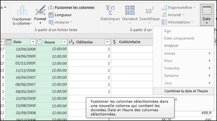 Power Query - Fusionner les dates et les heures dans une colonne Date/Heure dans l'Éditeur de requête