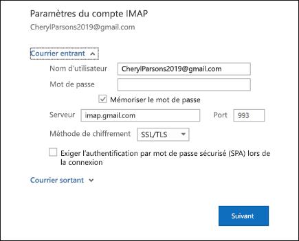 Sélectionnez Paramètres du serveur pour modifier votre nom d'utilisateur, votre mot de passe et les paramètres du serveur.