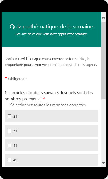 Questionnaire mathématique affiché en mode Aperçu sur un appareil mobile