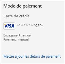 Section Moyen de paiement de la page Abonnement montrant le lien Mettre à jour les détails du paiement.