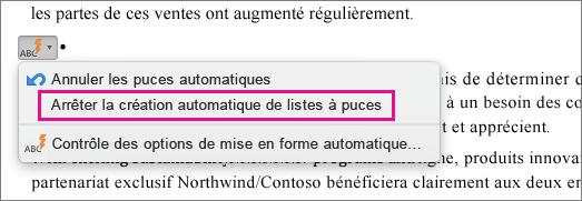 Option permettant d'empêcher la création automatique de listes à puces mise en évidence
