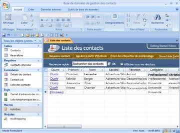 Base de données de gestion des contacts