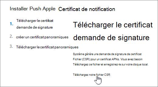 Boîte de dialogue Installer un certificat APN