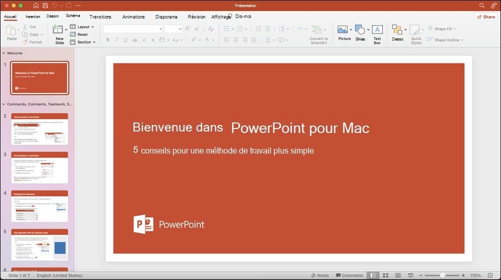 Fenêtre PowerPoint 2021 pour Mac avec le modèle Faites un tour ouvert