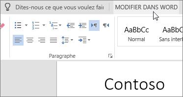 Sélectionner Modifier dans Word pour basculer vers la version de bureau