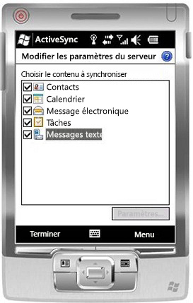 Activer la case à cocher Messages texte dans Windows Mobile 6.5