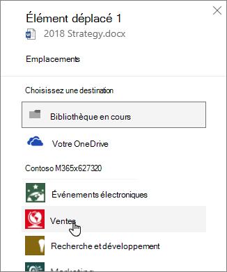 Capture d'écran du volet de déplacement de la bibliothèque de documents
