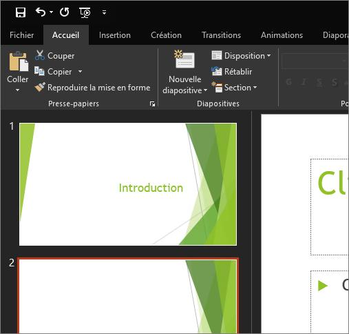 Thème Noir dans PowerPoint2016 pour Windows