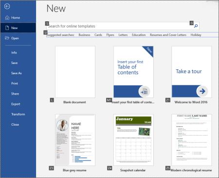 Nouvelle page dans le menu fichier de Word pour Windows
