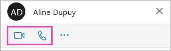 Capture d'écran des boutons vocales et vidéo dans la fenêtre de conversation