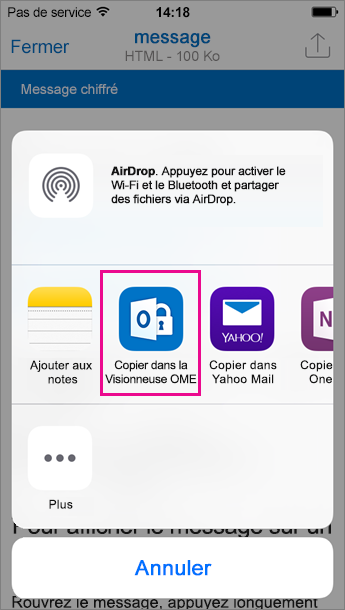 Visionneuse OME pour Outlook pour iOS 3