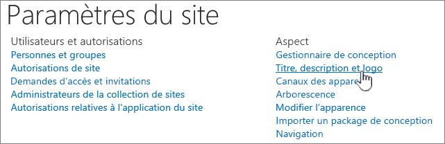 Paramètres du site avec titre, description et logo sélectionné