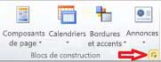 Groupe de blocs de construction affichant le bouton Afficher la bibliothèque de blocs de construction dans Publisher 2010