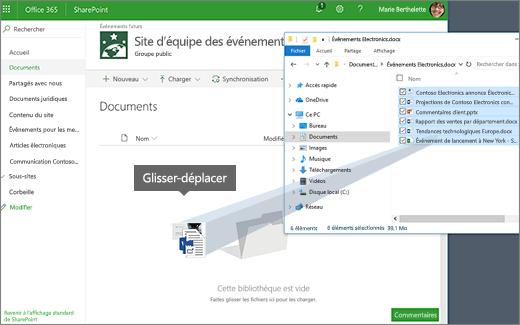 Faites glisser un fichier à partir d'un dossier du Bureau à votre bibliothèque
