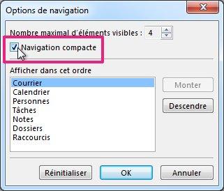 Commande Navigation compacte dans la boîte de dialogue Options de navigation