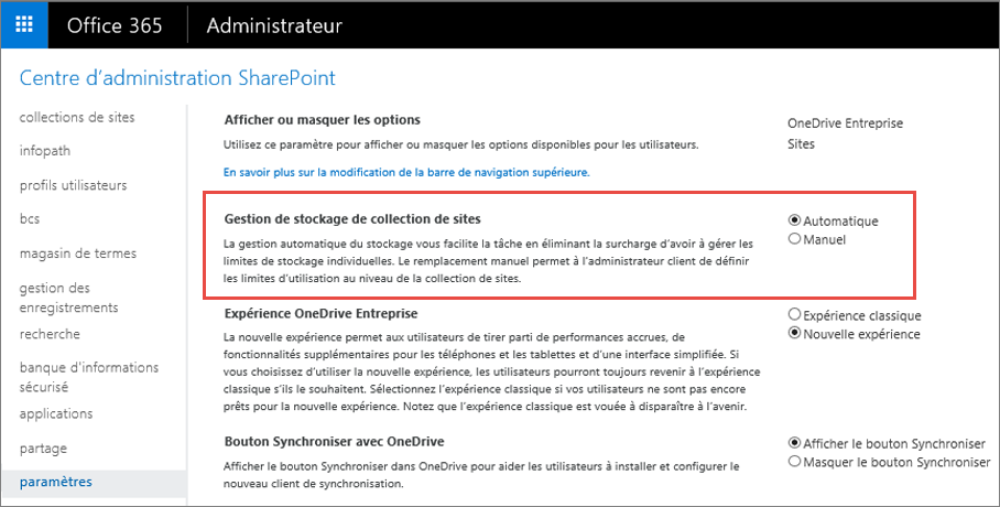 Écran de paramètres d'Office 365 SharePoint Online avec l'option Gestion des collections de sites en surbrillance