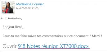 Message électronique avec un lien vers un document partagé