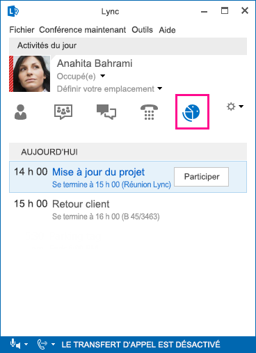 Capture d'écran d'un environnement de réunion Lync