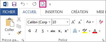 Bouton Accepter cette modification dans la barre d'outils Accès rapide